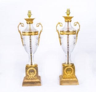 Pair Fine Cut Glass &amp Ormolu Empire Style Lamps Wired
