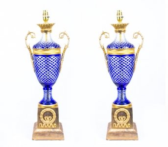 Pair Blue Cut Glass &amp Ormolu Empire Style Lamps Wired