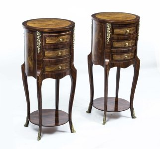 Beautiful Pair Victorian Walnut Cabinets Side Tables