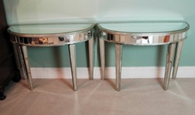 Pair Mirrored Silver Art Deco Half Moon Console Tables