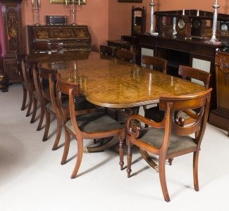 Stunning 10 ft Burr Walnut Regency Style Twin Pillar Dining Table 10 Swag Chairs
