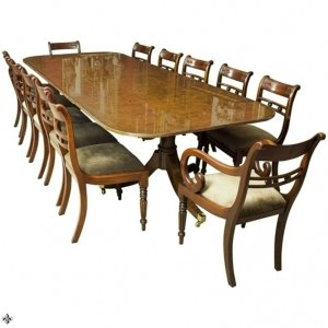 Bespoke Burr Walnut 10ft Regency Style Dining Table 12 Tulip Back Chairs | Ref. no. 00952dp