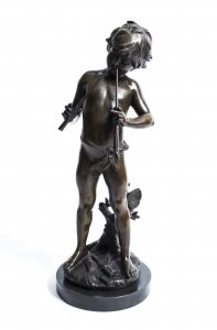 Beautiful Bronze Sculpture of Boy Piper Moreau