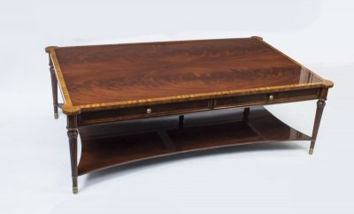 Stunning Flame Mahogany Coffee Table With Two Drawers