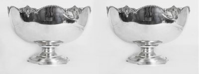 Pair Silver Plated Scalopped Edge Punch Bowls