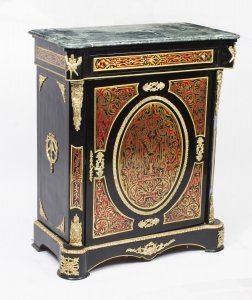 Fantastic Marble Topped Boulle Ebonised Pier Side Cabinet 20thC