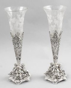Beautiful Pair of Silver Plate &amp Cut Glass Epergnes Vases 20th Century