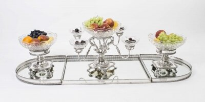English Silver Plate &amp Glass Epergne Centrepiece Set