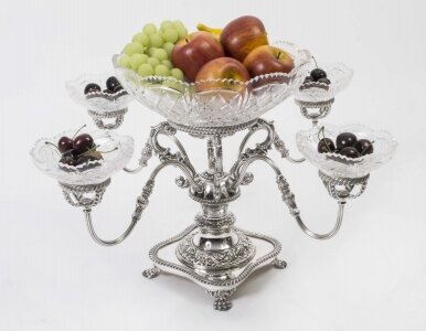 English Silver Plate Cut Glass Epergne Centrepiece
