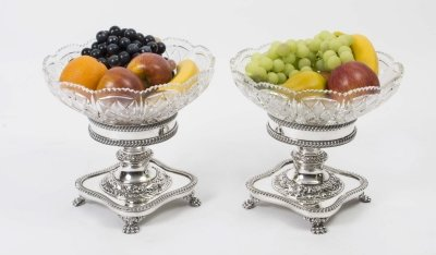 Pairof English Silver Plate &amp Cut Glass Compotes