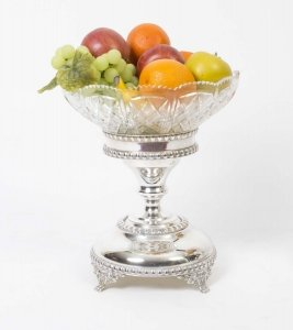 English Silver Plate &amp Cut Glass Comport Centrepiece