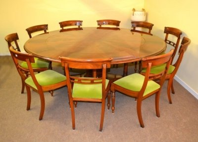 Bespoke 7ft Regency Flame Mahogany Jupe Dining Table &amp 10 chairs 21st C