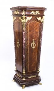 Exquisite French Empire Style Walnut &amp Marble Pedestal
