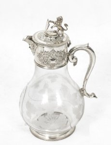 Stunning Silver Plate Claret Jug Glass Decanter | Ref. no. 01445 | Regent Antiques