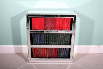Attractive Art Deco Mirrored Bookcase DVD CD Holder