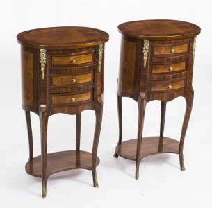 Pair Loius XVI Style Burr Walnut & Birdseye Maple Bedside Cabinets 20th C | Ref. no. 01489