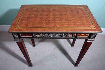 French Louis XVI Style Parquetry Side Writing Table
