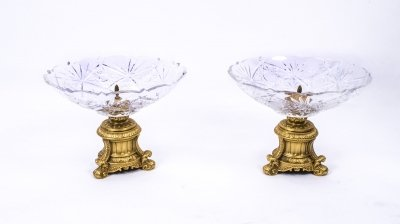 Ornate Pair of Cut Glass &amp Ormolu Centrepiece Dishes