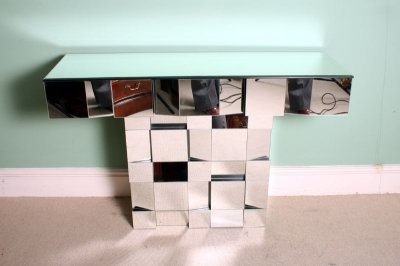 Unusual Ultra Modern Mirrored Cubist Console Table