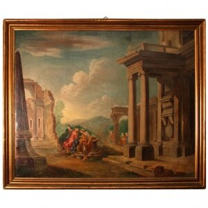 Antique Oil Painting & 39 Classical Roman Ruins& 39