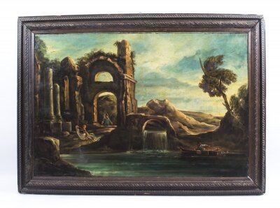 Antique Oil Painting Landscape Ruins