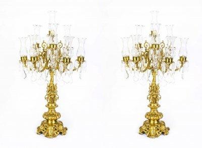 Huge pair italian gilded bronze crystal candelabras lamps ref no huge pair italian gilded bronze crystal candelabras lamps aloadofball Gallery