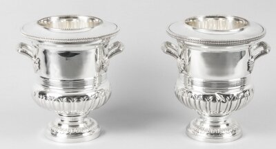 Pair English Silver Plate Wine &amp Champagne Coolers