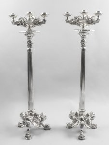 Large Pair Elegant Silver Plated Neoclassical Candelabra 20th C