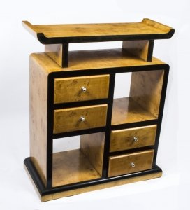 Vintage Elegant Art Deco Birdseye Maple Cabinet Bookcase