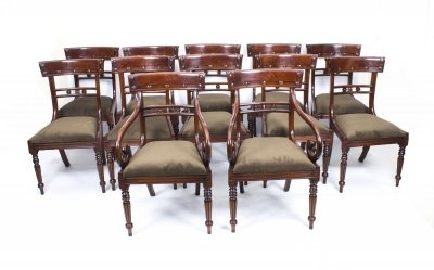Grand Bespoke Set 12 English Regency Style Bar Back Dining Chairs