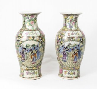 Beautiful Pair Chinese Canton Porcelain Vases | Ref. no. 02100