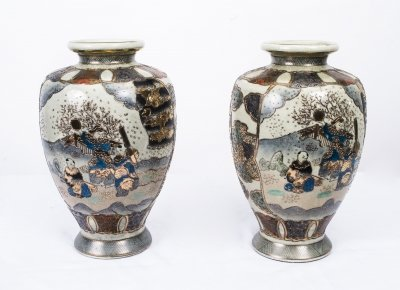 Pair Japanese Satsuma Hand Painted Porcelain Vases