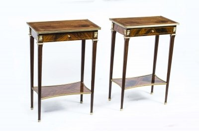 Pair Louis XVI Style Burr Walnut Occasional Tables