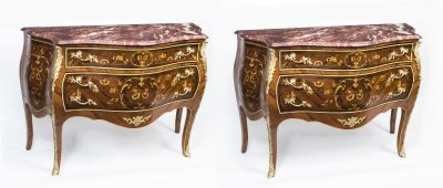 Pair Louis XV Rosewood Walnut Marquetry Commodes