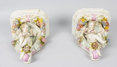 Decorative Pair of Dresden Style Porcelain Wall Brackets