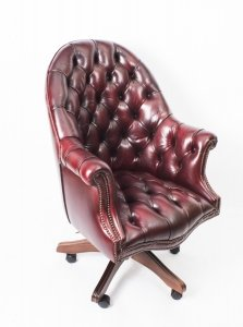 Bespoke English Hand Made Leather Directors Desk Chair Ox Blood | Ref. no. 02332b | Regent Antiques