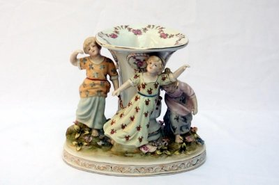 Lovely Dresden Style Handpainted Vase Children Dancing
