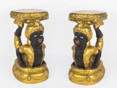 Unusual Pair Gilded Blackamoor Stands Statues