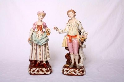 Lovely Pair Dresden Style Classical Porcelain Figures