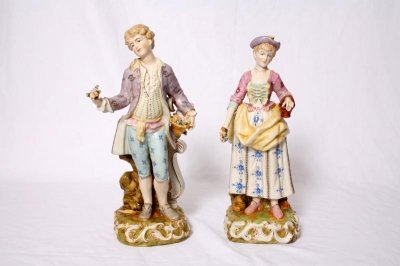 Pair Dresden Style Hand Painted Porcelain Figures