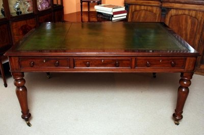 - Antique Victorian Partners Writing Table Desk C 1860
