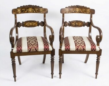 Stunning Pair English Regency Style Inlaid Armchairs | Ref. no. 02826 | Regent Antiques