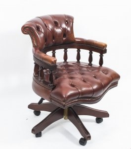 English Hand Made Leather Captains Desk Chair Champagne