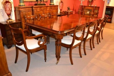 English Regency Dining Table &amp 10 Regency Drape Chairs