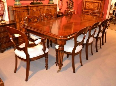 English Regency Dining Table &amp 10 Ballon Back Chairs