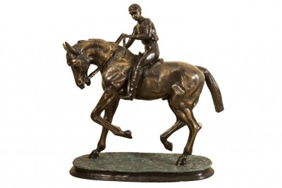 Stunning Large Horse &amp Jockey Bronze Sculpture Mene