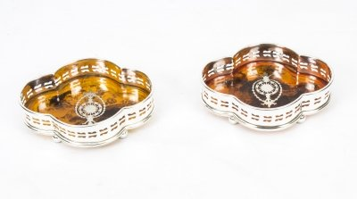 Lovely Pair Silver Plate &amp Faux Tortoiseshell Coasters