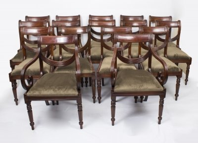 Set 16 Regency Style Mahogany Swag Back Dining Chairs