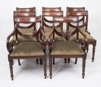 Grand Set 8 Regency Style Dining Chairs Swag Back