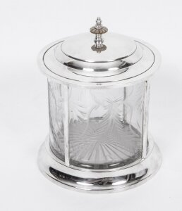 Lovely Silver Plated & Cut Glass Biscuit Sweet Tea Box | Ref. no. 03319 | Regent Antiques